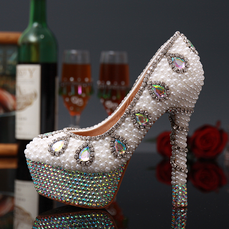 ФОТО Colorful Wedding Shoes Pearl Rhinestone Pumps Bridal High Heel Shoes Luxury Crystal Formal Platform Party Shoes Plus Size 43