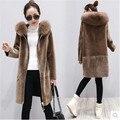 Fur coat female Lambs wool coat Latest Hooded MAO collar Loose Winter coat High quality fabrics Warm Women's clothing BN1810