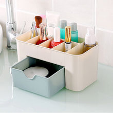 Cysincos Makeup Organizer Plastic Box Makeup Organizers Home Desktop Organizer For Cosmetics Portable Beauty Box Brushes Holder(China)