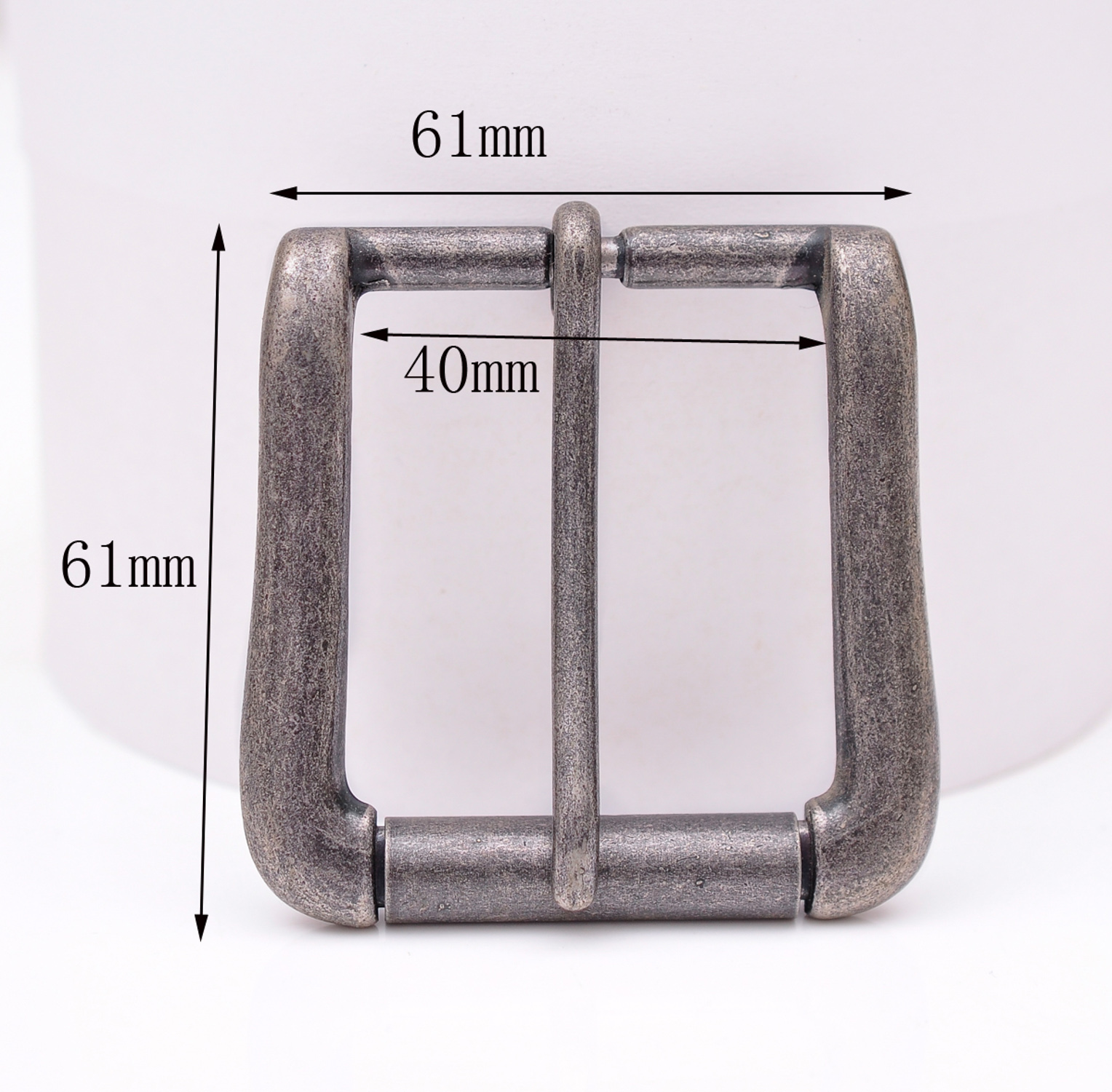 40mm Vintage Silver Two-Tone Heavy Square Roller Single Prong Pin Belt Buckle