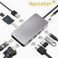 2019 HUB USB 10 in 1 Thunderbolt 3 Tipo C Adattatore Dock 3 Porta USB 3.0 4K HDMI 1080P VGA RJ45 Gigabit Ethernet Per Macbook Pro
