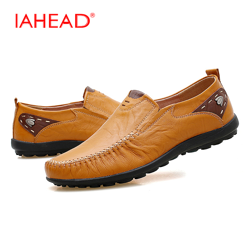 Men Casual Shoes Leather Fashion  Vintage Soft Loafers Plus Size Breathable Slip On Shoes Comfortable chaussure homme MS205 genuine leather men casual shoes summer loafers breathable soft driving men s handmade chaussure homme net surface party loafers