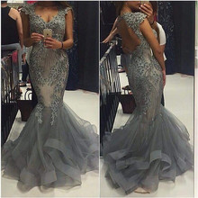 Lange Appliqued Cray Abendkleider Frau Prom Kleider Vestido De Festa Longo