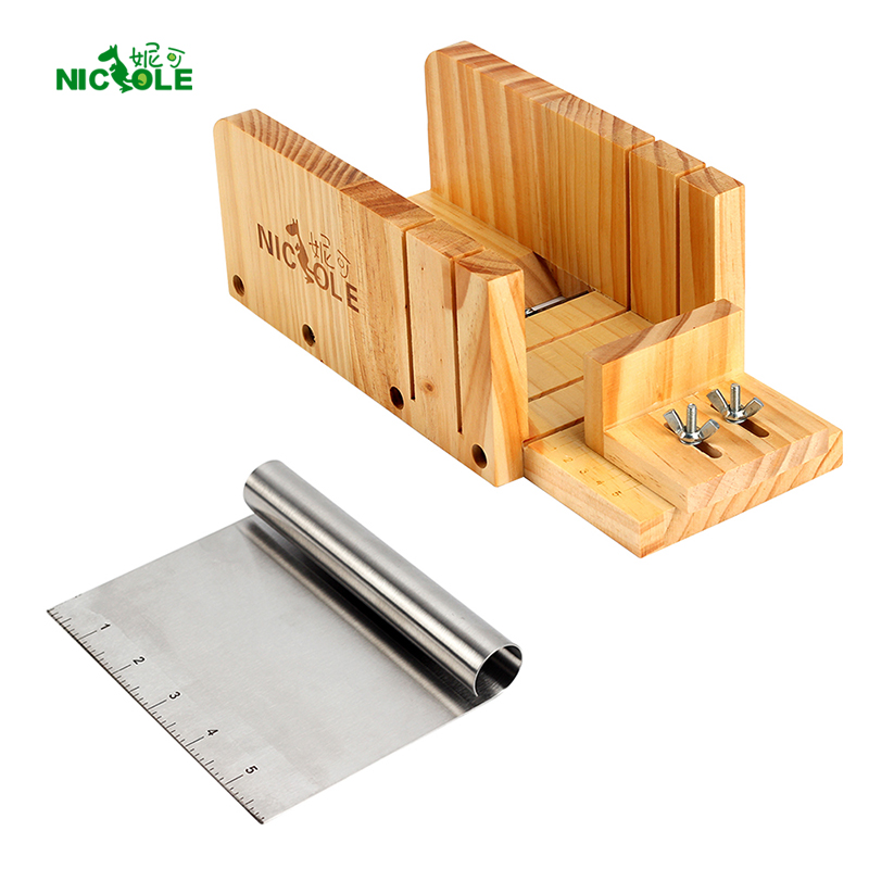 Nicole Soap Cutting Tools Set 2 Justerbar Wood Loaf Cutter Box & Metal skärblad Tvåltillbehör