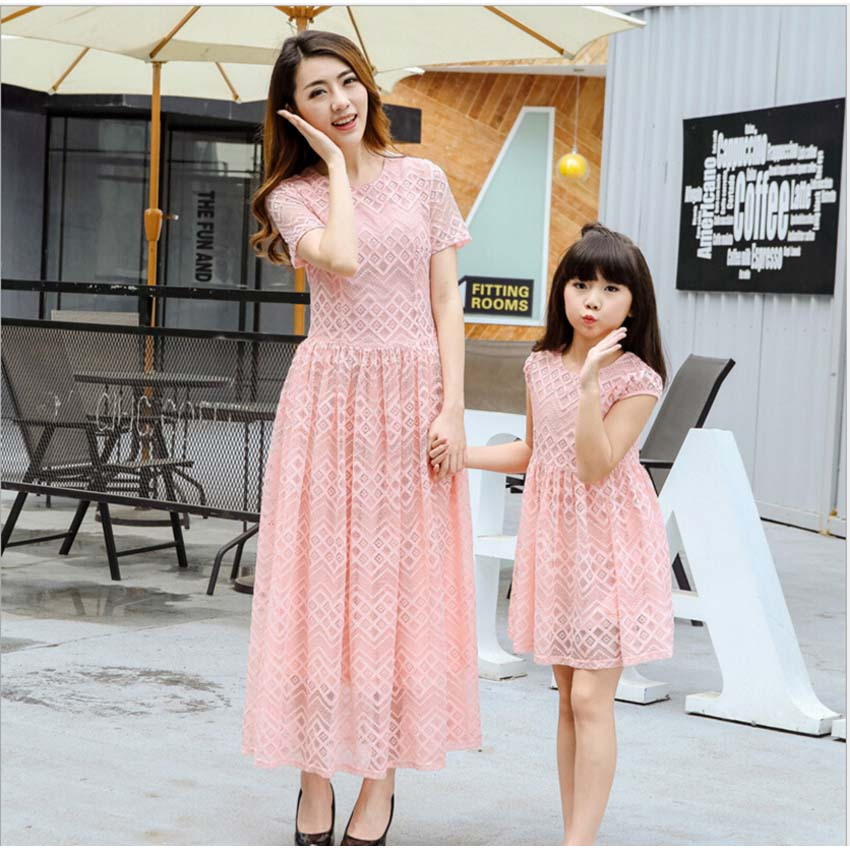 Baby Girls Dresses Summer Matching Mother Daughter Dress Plus Size Lady Sweet lace dress mother and daughter Family Clothing