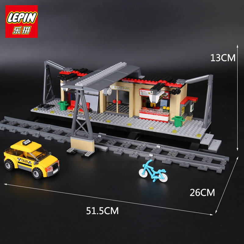IN STOCK Lepin 02015 City Trains Train Station with Rail track Taxi 456Pcs Building Block Set Boys Model Brick Toy 60050 lepin 02015 456pcs city series train station car styling building blocks bricks toys for children gifts compatible 60050