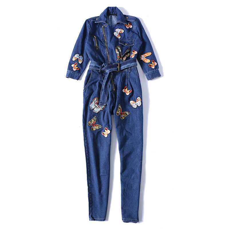 New 2018 Autumn Fashion Butterfly Embroidery Women Jumpsuit Rompers High Quality Denim Overalls Women Long Sleeve Jeans Jumpsuit