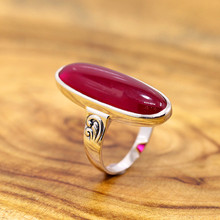 925 sterling silver jewelry, stylish atmosphere, ladies red corundum ring, cool summer
