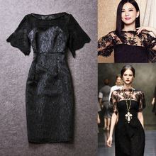 2016 women's fashion perspectivity lace tube medium-long one-piece jacquard dress
