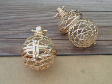 4pcs /lot gold color hollow out (copper) box charm pendant 28mmx30mm
