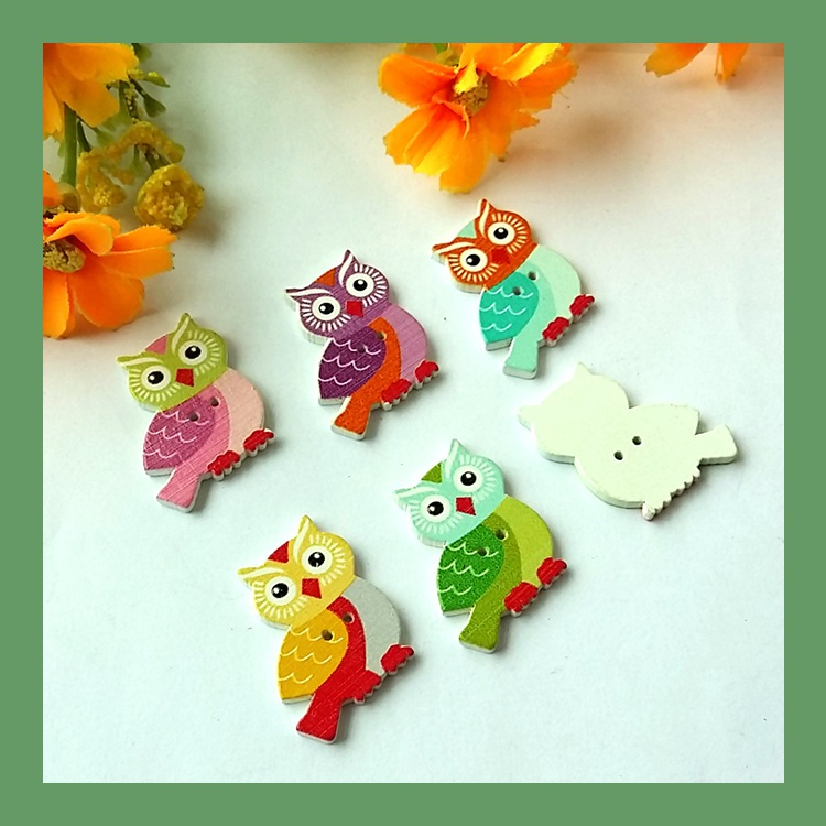 Wholesale 100Pcs Owl Printing Natural Wooden Buttons 25mm*27mm Crafts Accessory Scrapbooking supplies botoes para artesanato