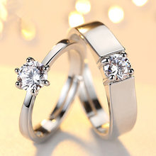 Beiver Fashion Crystal CZ Stone Wedding Engagement Rings for Couples Rhodium Plated Adjustable Ring for Women Men(China)