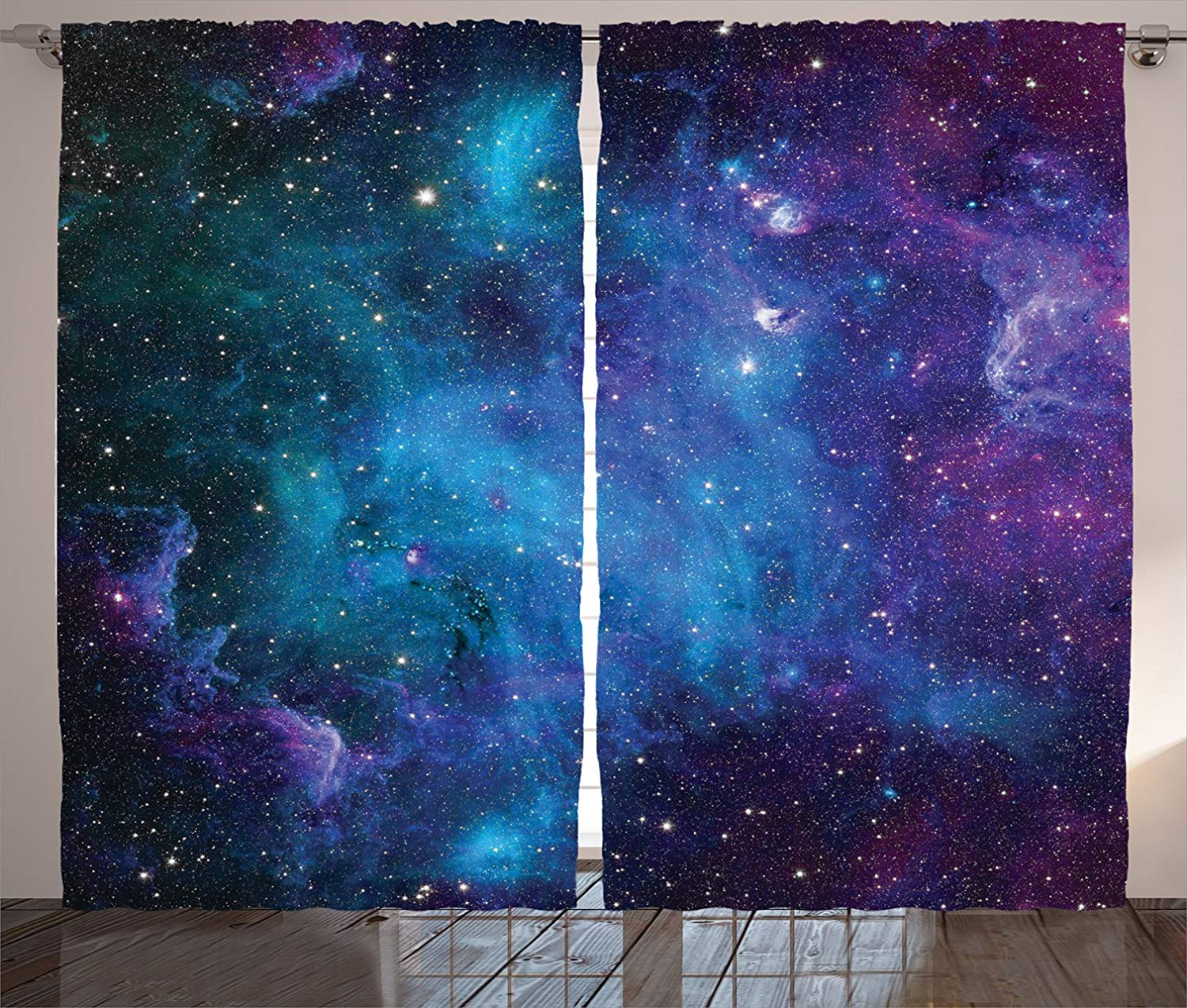 Space Decor Window Curtains Galaxy Stars In Celestial Astronomic Nebula Planets In Universe Drapes For Living Room Bedroom