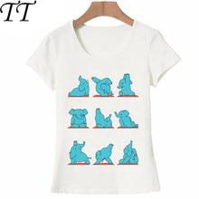 7e6312e89da Feliz Elefante Azul YO GA Bonito Camiseta Mulheres T-Shirt Encantador  Cavalier Animal Print Verão Casual Tops Bonito Menina Tees