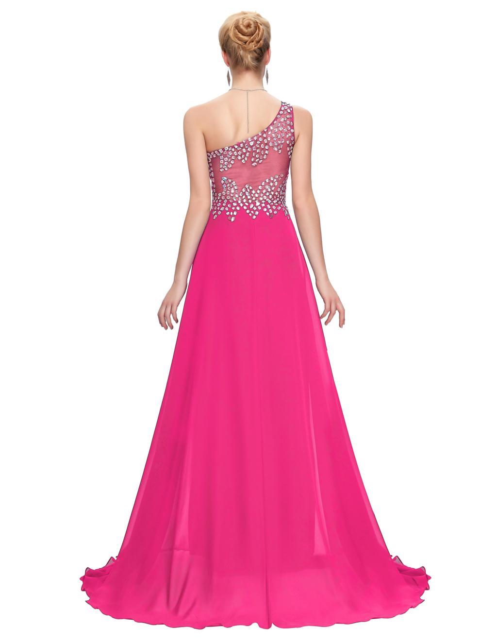 Un Shouler Azul Rosa Verde Gasa Vestidos de Baile Largo 2017 grace ...