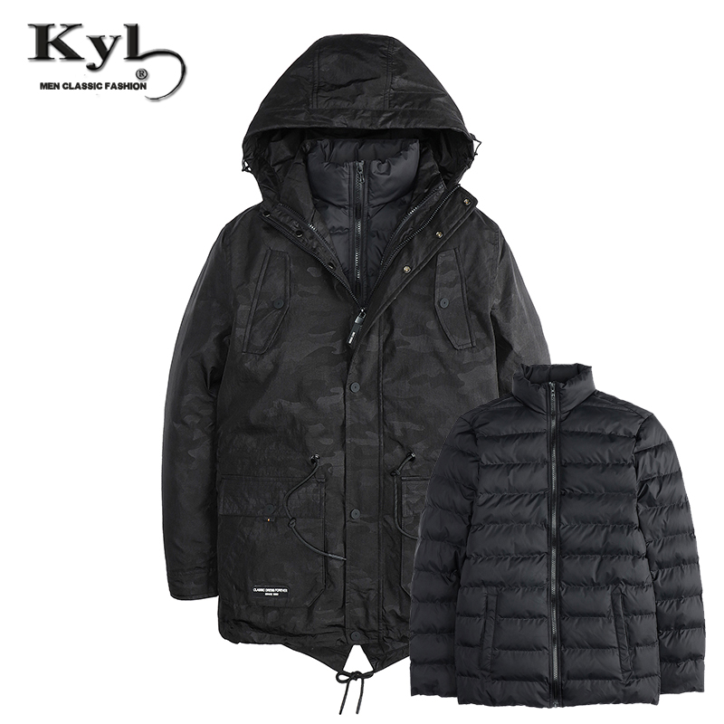 Two Pieces Winter Thick New Fashion Brand Men warm Hooded Jacket Coats Long Overcoat Cotton Jackets Mens Outerwear Parka Plus