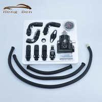 HB Universele Verstelbare Brandstofdrukregelaar Kits 160psi Gauge AN6 Gevlochten Olie Slang Zwart + Rood/Rood + Zilver