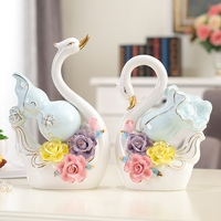 European mascot Swan couple ceramic animal birds figurines home accessories room Feng Shui decorations porcelain crafts gifts