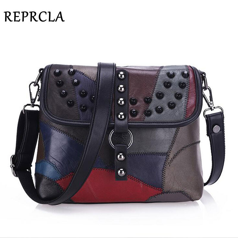 REPRCLA New Genuine Leather Bag Rivet Patchwork Women Messenger Bags Crossbody Fashion Designer Handbags Shoulder Bag L037 sunmejoy fashion ribbons handbags designer women bag crossbody bags rivet shoulder bags embroidered floral women messenger bag