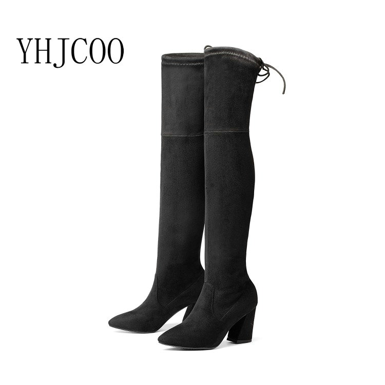 17 NEW Women Stretch Fabric Fashion Boots Over The Knee Boots Hoof Heels Sexy High Heel Pointed Toe Winter Boots Lady Shoes 43