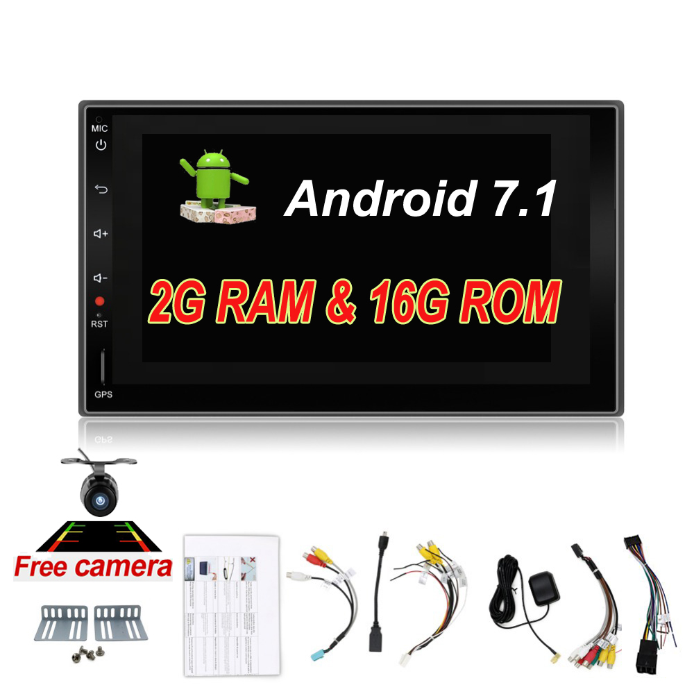 2din Android 7.1 Universal Touch Car PC Tablet double Audio 7'' GPS Navi Car Stereo Radio No DVD Navigation Video Capacitive android 6 0 car dvd stereo fastest 2ghz quad core capacitive multi touch double 2 din car pc cd stereo gps tv bt wifi 3g camera
