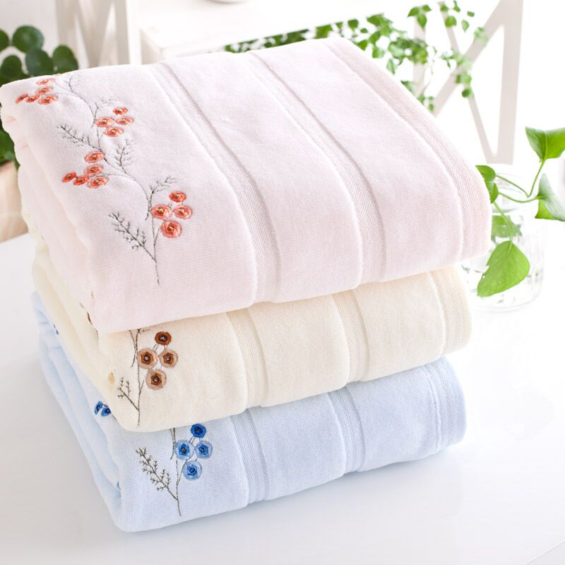 Embroidered Cotton Bath Towels For Adults 70 140cm Designer High Quality Beach Terry Bath
