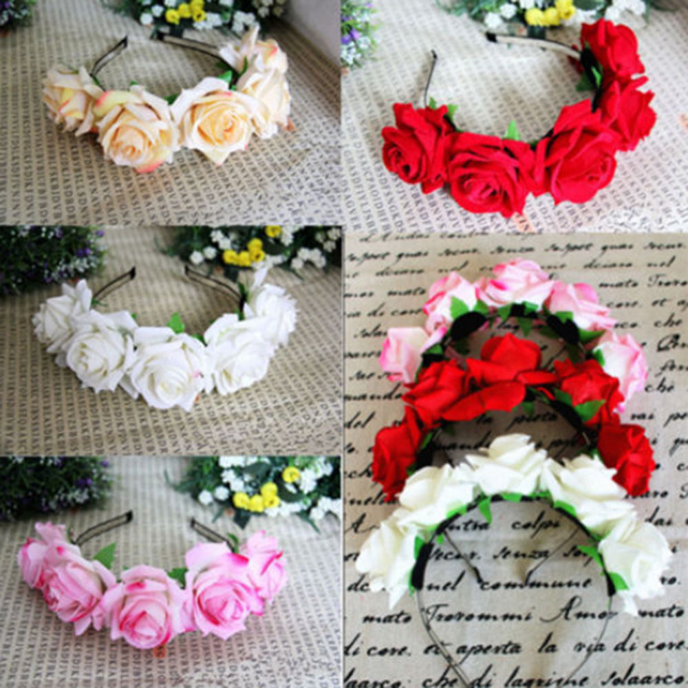 New Rose Flower Headband Flower Crown For Bridesmaid Garland Floral