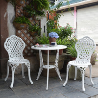 1 table 2 chairs New Patio Furniture modern Design garden chair and table Cast Aluminum Bistro Set