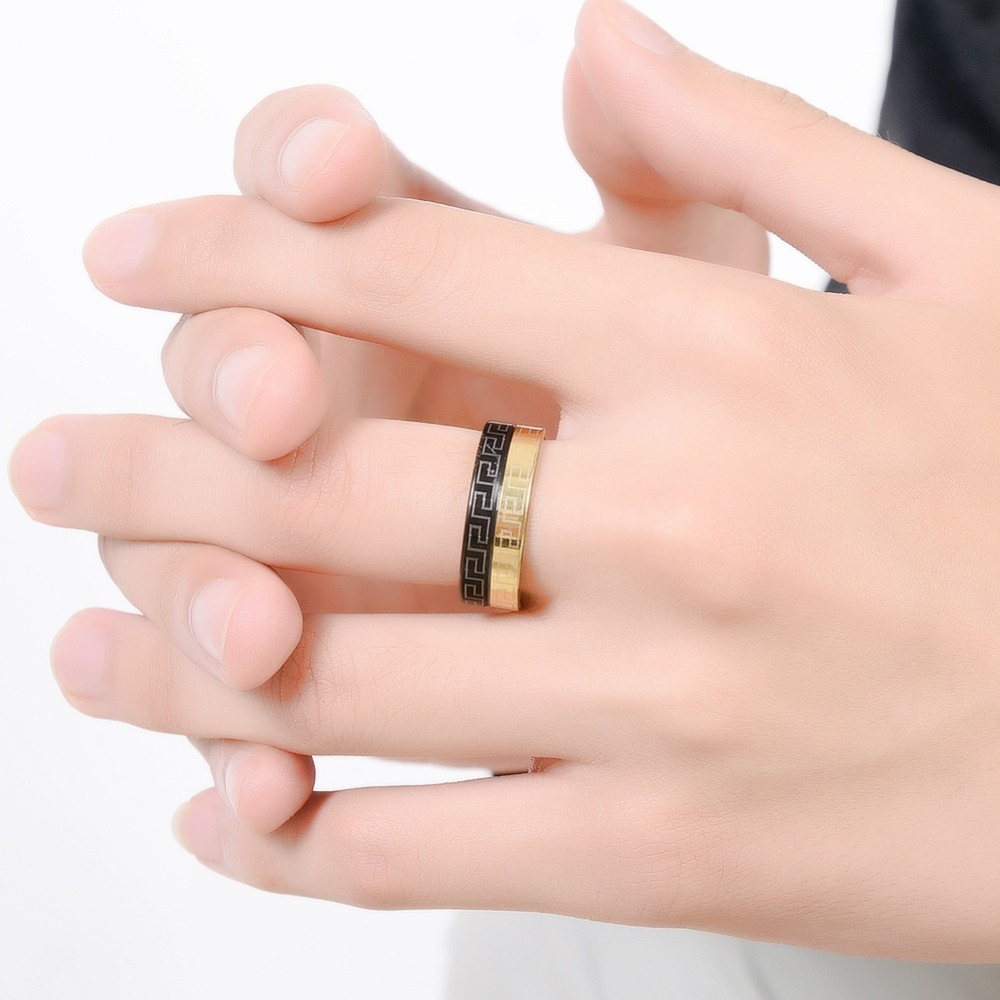 5pcs/Set New Simple Design Band Rings Stainless Steel Gold+Black ...