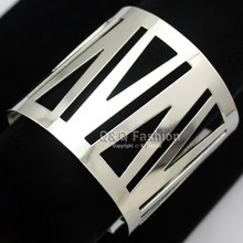 Silver Cut Out V Triangle Cage Warrior Shield Wrist Wide Bracelet Bangle Cuff Jewelry New(China)