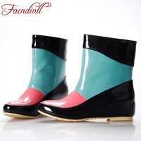 FACNDINLL Brand Women Rain Boots Waterproof Boots For Rainy Days 3 Color Mixed Colors Rainboots Platform