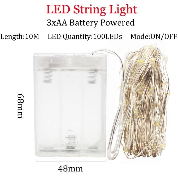 Светодиодный светильник-гирлянда s 10 м 5 м 2 м, серебряная гирлянда, украшение для дома, Рождества, свадьбы, вечеринки, питание от батареи 5 В, USB, сказочный светильник - Испускаемый цвет: 10m   3A  Battery