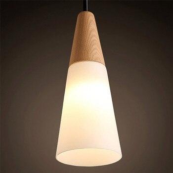 Styl Skandynawski Drewno Dębowe Wisiorek Led światła, Twórczy Krótkie Biały Klosz Szklany Wisiorek U Nas Państwo Lampy Salon Droplight Dla Domu światła