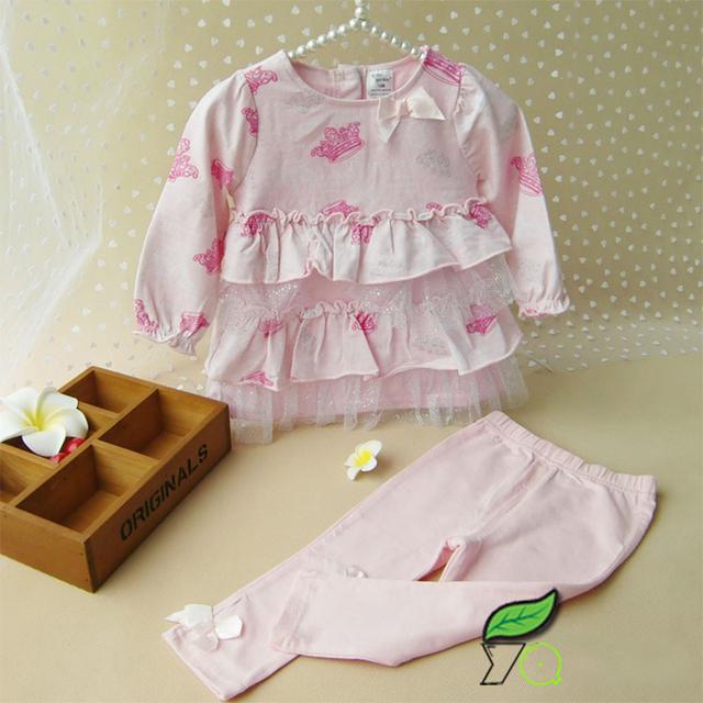 Primavera e no Outono Bebê Menina Rosa Impressão Conjunto de Roupas de Algodão Infantil Bebe Meninas Rendas T-shirt + Leggings Roupas Casuais