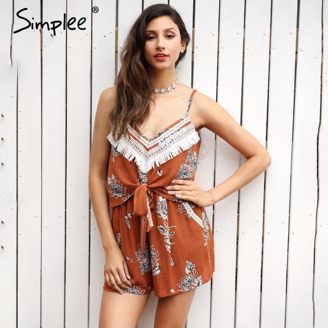 Simplee Sexy tassel backless boho jumpsuit romper Women flower print bow sleeveless playsuit Summer beach short overalls