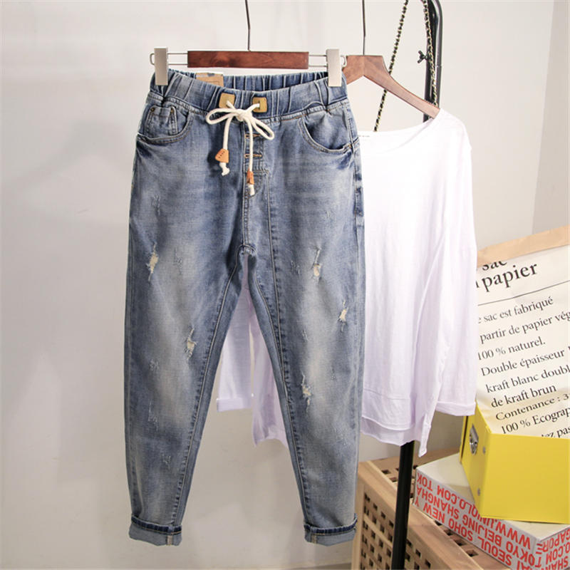 Large Size Women Denim Wide Leg Jeans Pants Spring Autumn Casual Boyfriend Jeans For Women Streetwear High Waist Mom Jeans Q1679