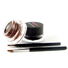 Fashion Hot Sell Lasting Long Waterproof Natural Fast Dry Black+Brown With 2Brushes Gel Eyeliner