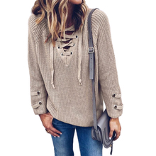 Stylish Autumn Winter Lace Up Front Knitted Sweater Women Sexy V-Neck Long Sleeve Long Sweater
