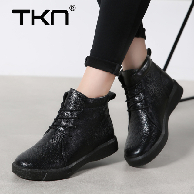 5e6a190276b US $43.98 |Women Winter Ankle Boots Genuine Leather Warm Short Booties  Waterproof Rubber Chaussure Femme Snow Boots Footwear Shoes Woman-in Ankle  ...