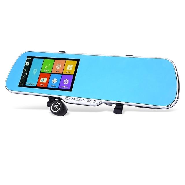 Android 4.4 5.0 Tela de Toque da polegada 1080 P HD Car Completa DVR Espelho Retrovisor Câmera Dupla GPS WIFI Suporte Transmissor FM G-Sensor