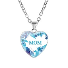 New arrival Unique Design Necklace For Women Mothers Day Gift MOM Silver Alloy Love pattern Heart Pendant
