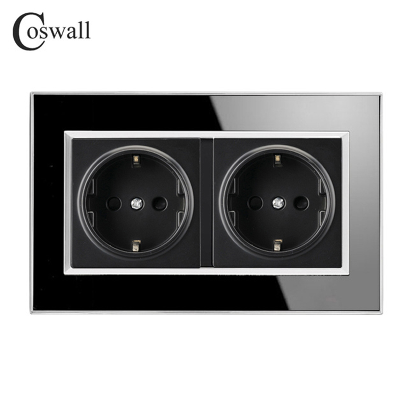 Coswall 146 Type 16A Double EU Standard Socket Luxury Wall Power Outlet Acrylic Crystal Panel A1 Series AC 110~250V Knight Black