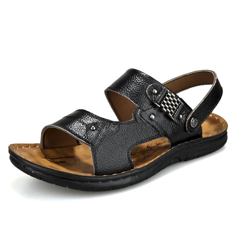 صيف 2018 جلد الرجال أحذية الشاطئ - احذية رجالية