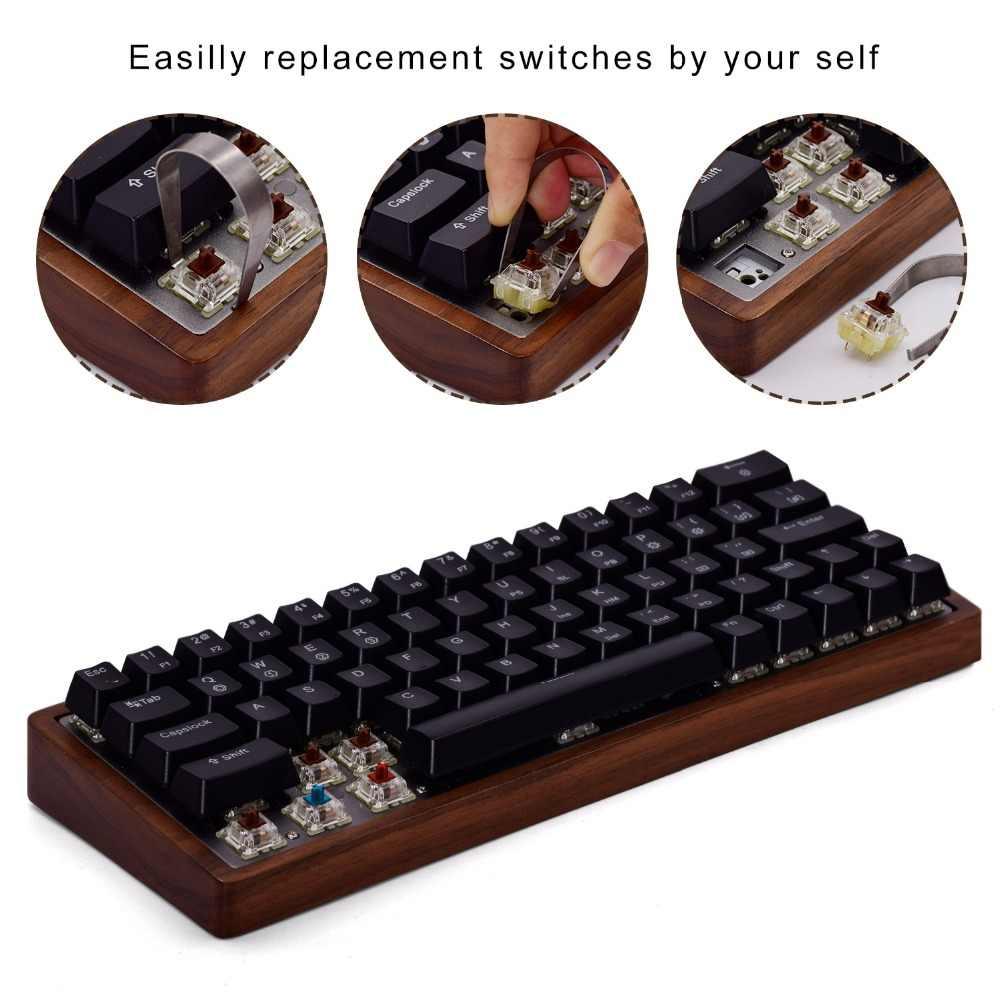 لوحة المفاتيح الميكانيكية مايدرن GK64 64key صبغ المفاتيح الفرعية خشبية مخصصة ضوء RGB الكرز الشخصي keycap (مفاتيح الكرز MX الأزرق)