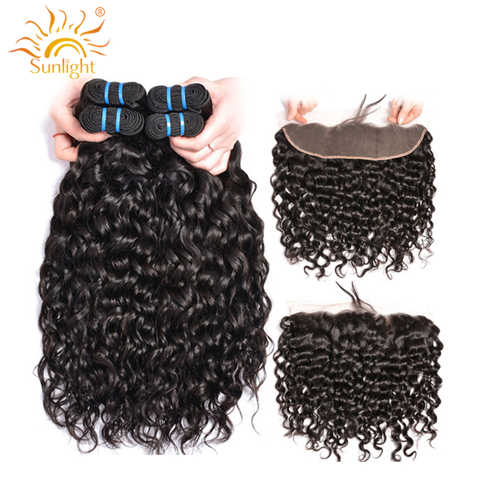 Sunlight Human Hair Water Wave Bundles With Frontal Closure Indian Hair 3 4 Bundles With Closure