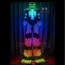TC-109 Full color LED light robot stilts costumes colorful led wear ballroom dance dj luminous suit mens helmet programmable led