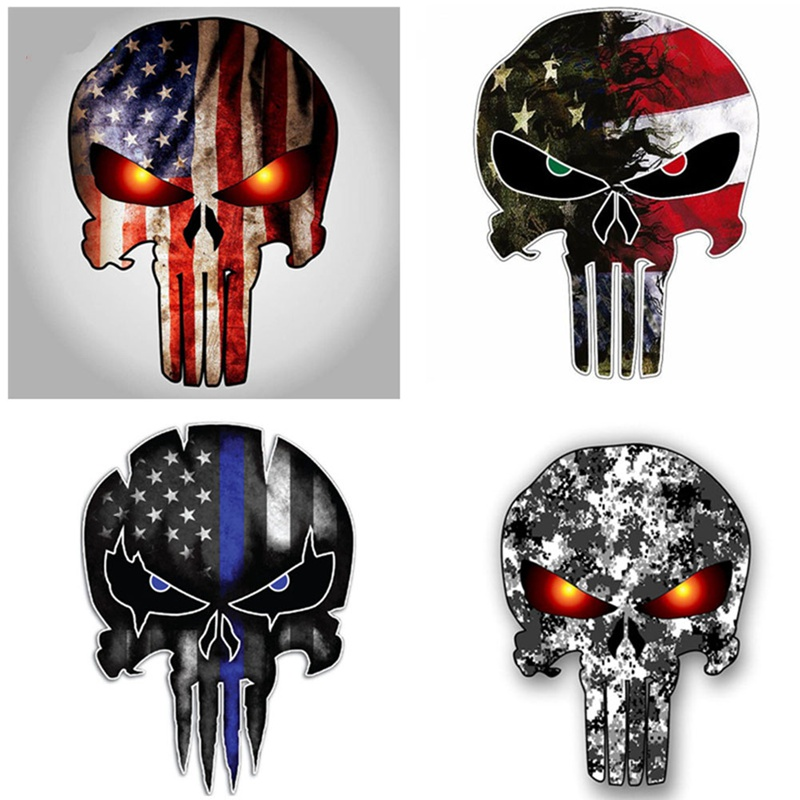 11*15CM Thin Blue Line Punisher Skull Reflective Personalized Car Stickers Motorcycle Decals