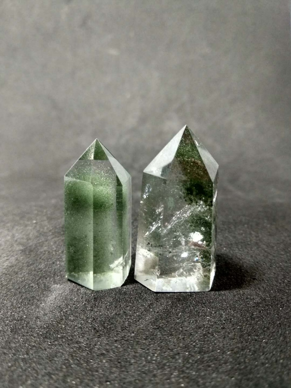 Buy Rare!!! 2pcs Natural Green Phantom Crystal ghost Quartz Chorite-Crystals Point Healing for $42.00 in AliExpress store