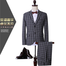 BOU 2017 new fashion boutique business CCXO plaid three-piece men's suits suits groom JACKET + PANT + VEST