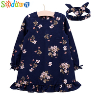 Sodawn Spring Autumn Baby Girls Clothes Printed dress +Hair Bband Girls Dress Sweet Fashion Children Clothing Princess Dress
